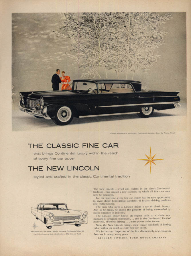 Image for The Classic Fine Car - the New Lincoln Landau 4-door hardtop ad 1958 L