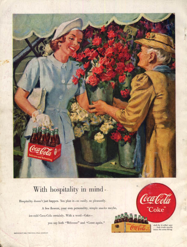 Image for With hospitality in mind Coca-Cola ad 1949 woman buys roses at stand HBZ