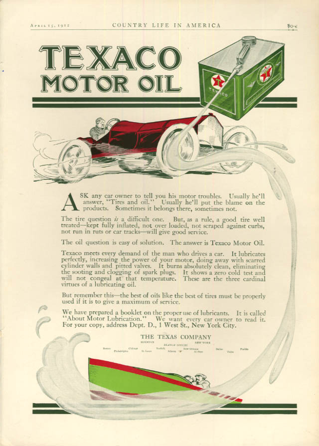 Image for Ask any car owner his troubles Texaco Motor Oil ad 1912 roadster & speedboat