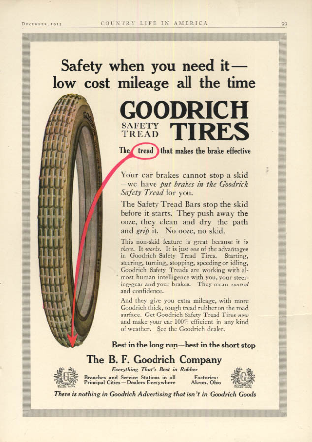 Image for Safety when you need it low cost mileage all the time Goodrich Tires ad 1913
