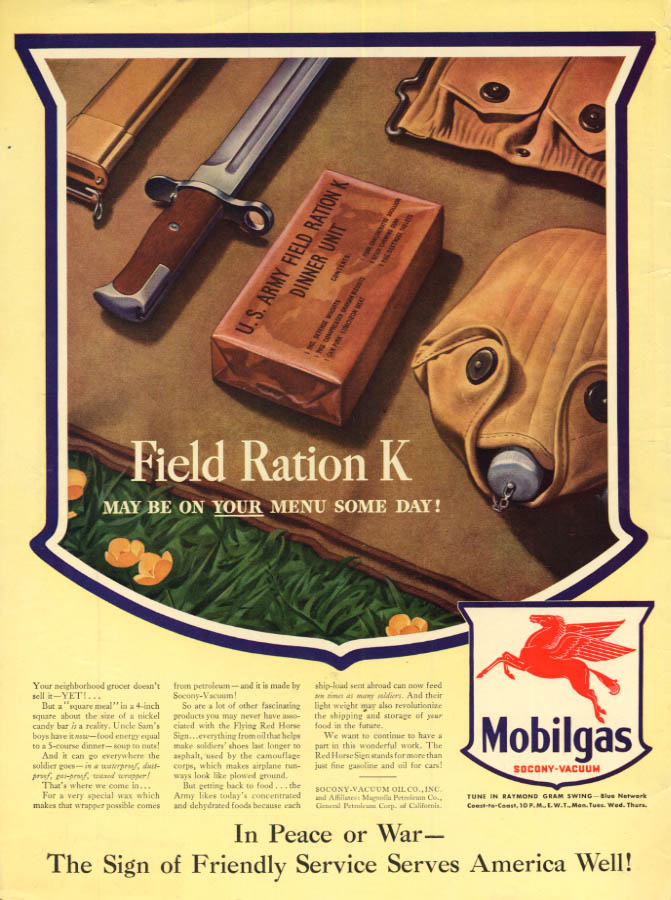 Image for US Army Field Ration K may be on YOUR menu some day! Mobilgas ad 1943 L