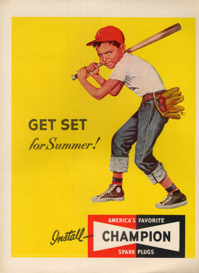 Image for Get set for Summer! Champion Spark Plugs ad 1952 youth baseball batter L