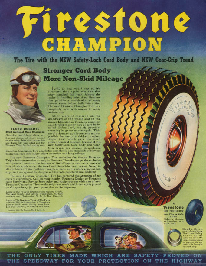 Image for 1938 Indy 500 Champ Floyd Roberts for Firestone Champion Tires ad 1939 SEP