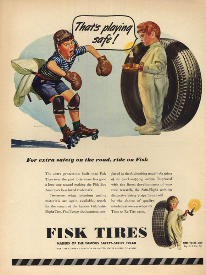 Image for That's playing safe! Fisk Tires ad 1945 kid rollerskater with pillow & helmet L