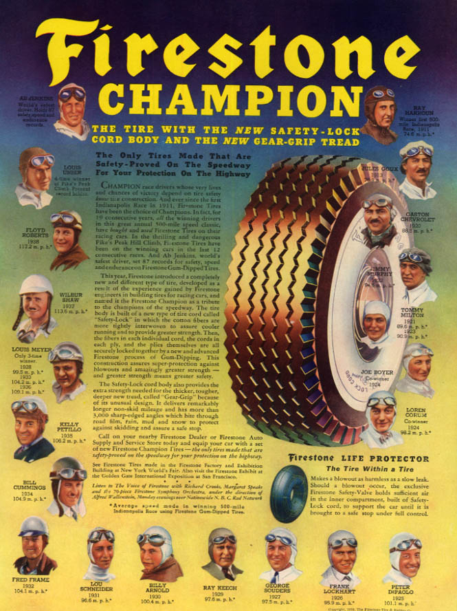 Image for Indianapolis Champions 1911-1938 for Firestone Champion Tires ad 1939 L