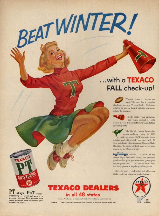 Image for Beat Winter! Texaco Anti-Freeze ad 1955 blonde cheerleader with megaphone L