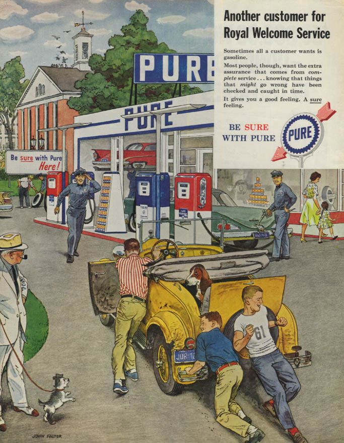 Image for Teenage boys push jalopy to Pure Gasoline station pumps ad 1959 SEP