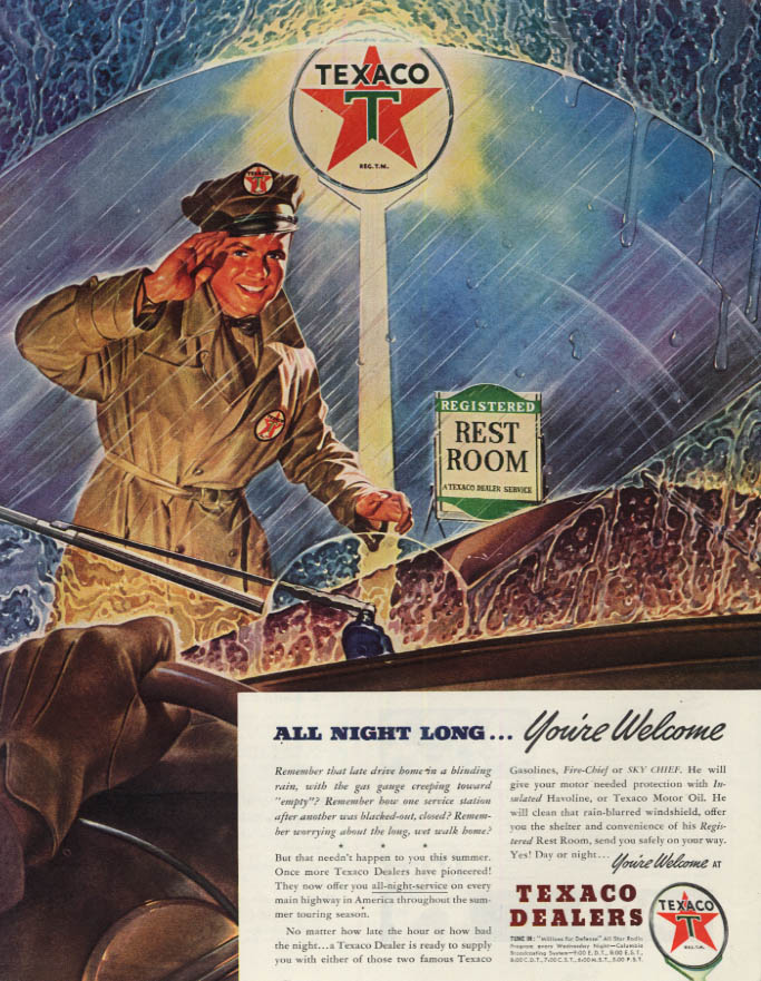 Image for All Night Long - You're Welcome at Texaco Gasoline Stations ad 1941 SEP