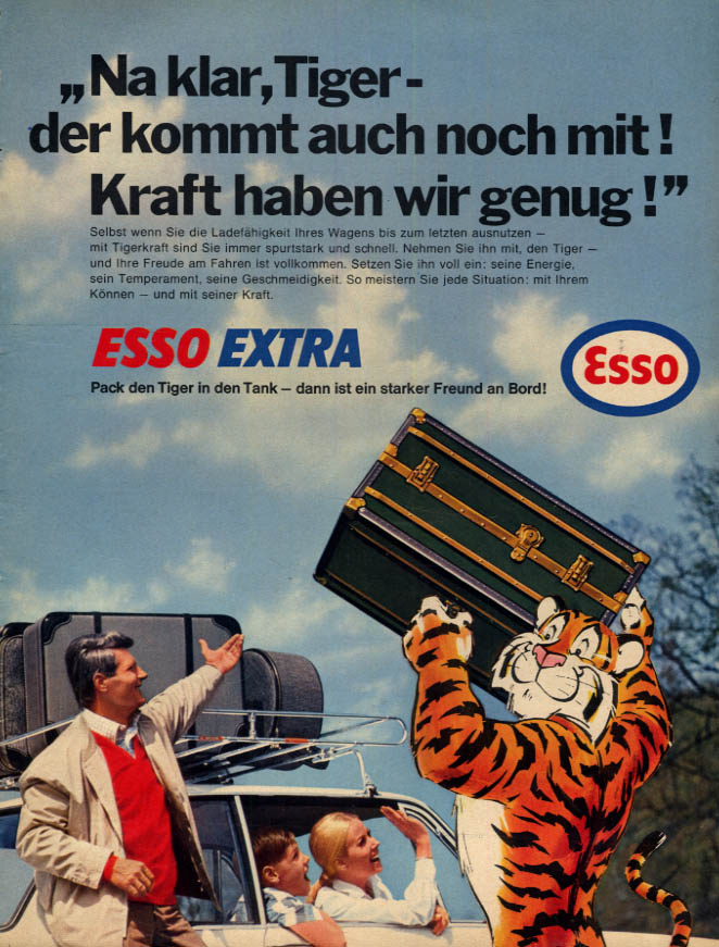 Image for Esso Extra Gasoline Tiger loads luggage for German family ad 1967