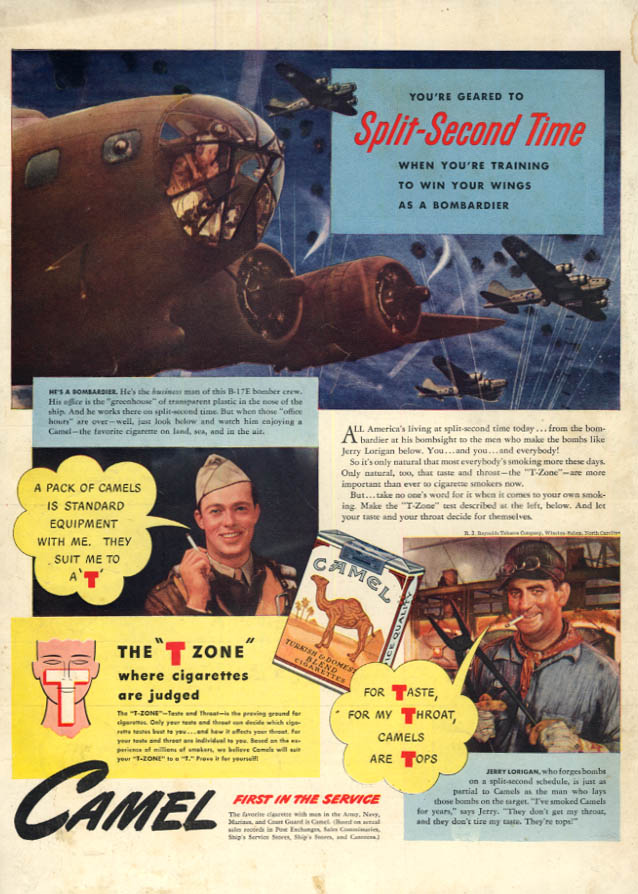 Image for B-17 Flying Fortress Bombardier Jerry Lorrigan for Camel Cigarettes ad 1942 L