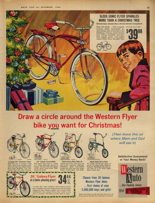 Image for Western Auto Christmas bicycle ad 1965 Sonic Flyer Buzz Bike III Galaxy Flyer +