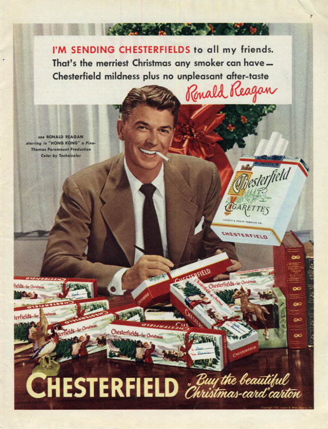 Image for Ronald Reagan for Chesterfield Cigarettes for Christmas ad 1951 Col
