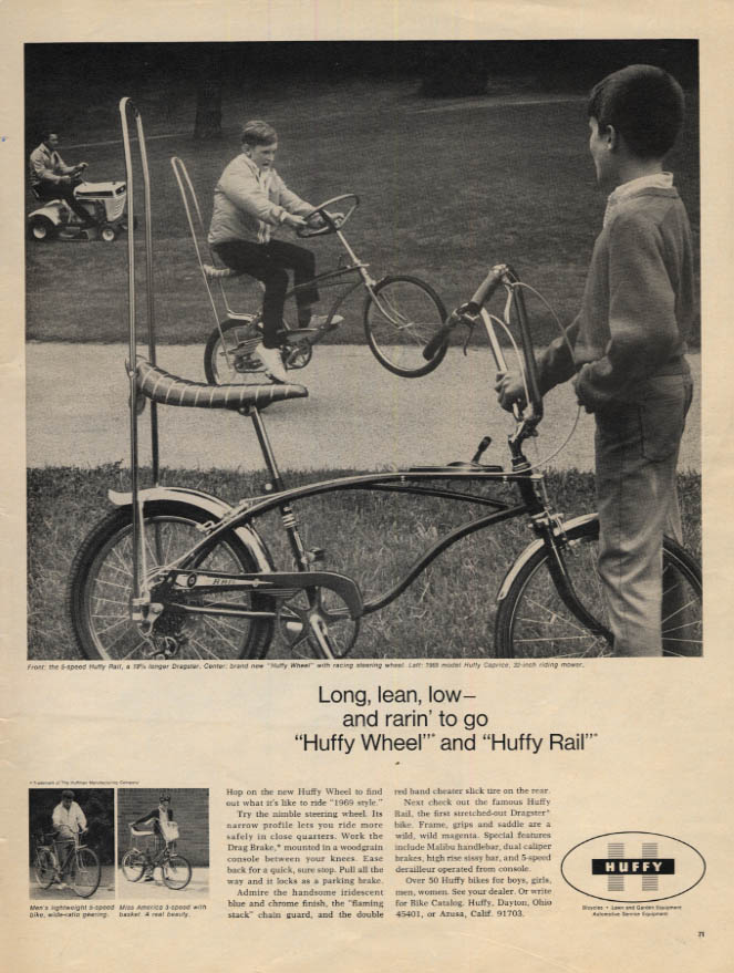Image for Long lean low & rarin' to go Huffy Wheel & Huffy Rail Bicycles ad 1968 L