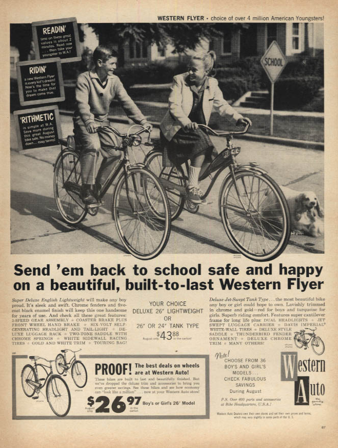 Image for Send 'em back to school safe Western Auto Bicycle ad 1961 L