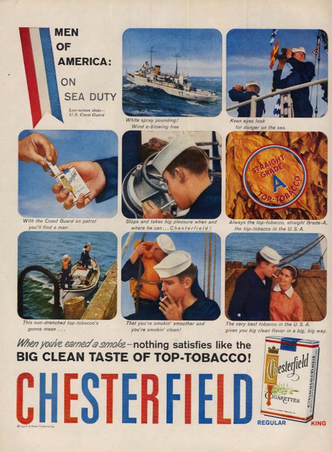 Image for U S Coast Guard Cutter on sea duty for Chesterfield Cigarettes ad 1958 L