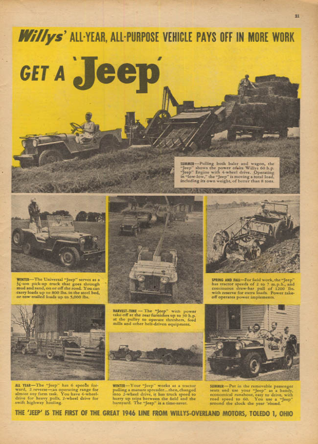 Image for All-Year All-Purpose Vehicle Pays Off in More Work - Jeep ad 1946