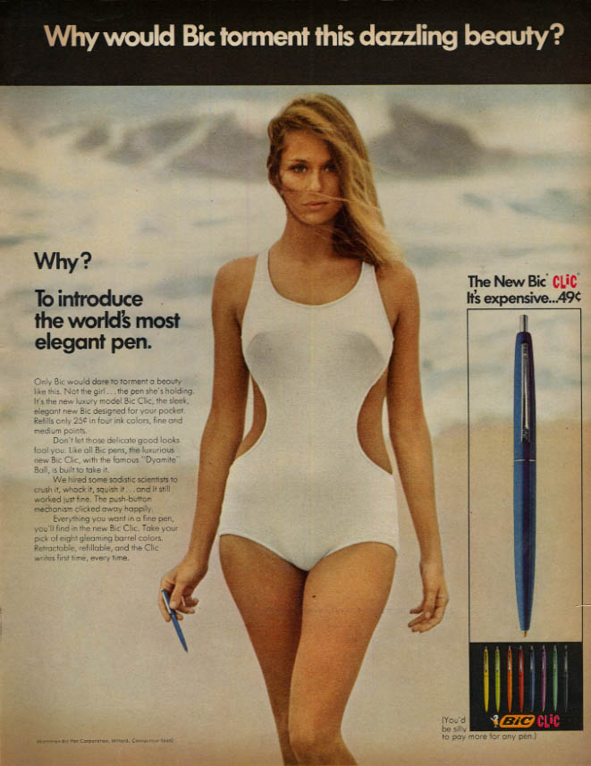Image for Why would Bic torment this dazzling beauty? Bic Clic Pen ad 1968 swimsuit LK