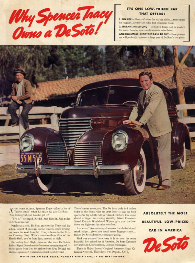 Image for Why Spencer Tracy Owns a De Soto! Nimble as a colt! Ad 1939 L