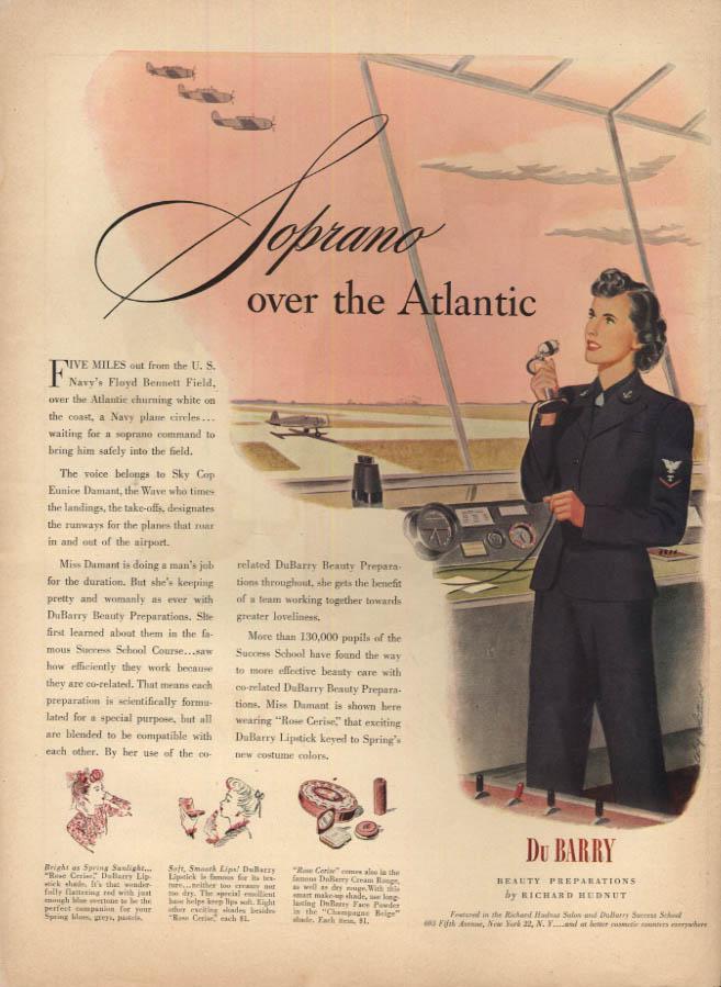 Image for US Navy Sky Cop Eunice Damant Floyd Bennett Field Du Barry Cosmetics ad 1944 L