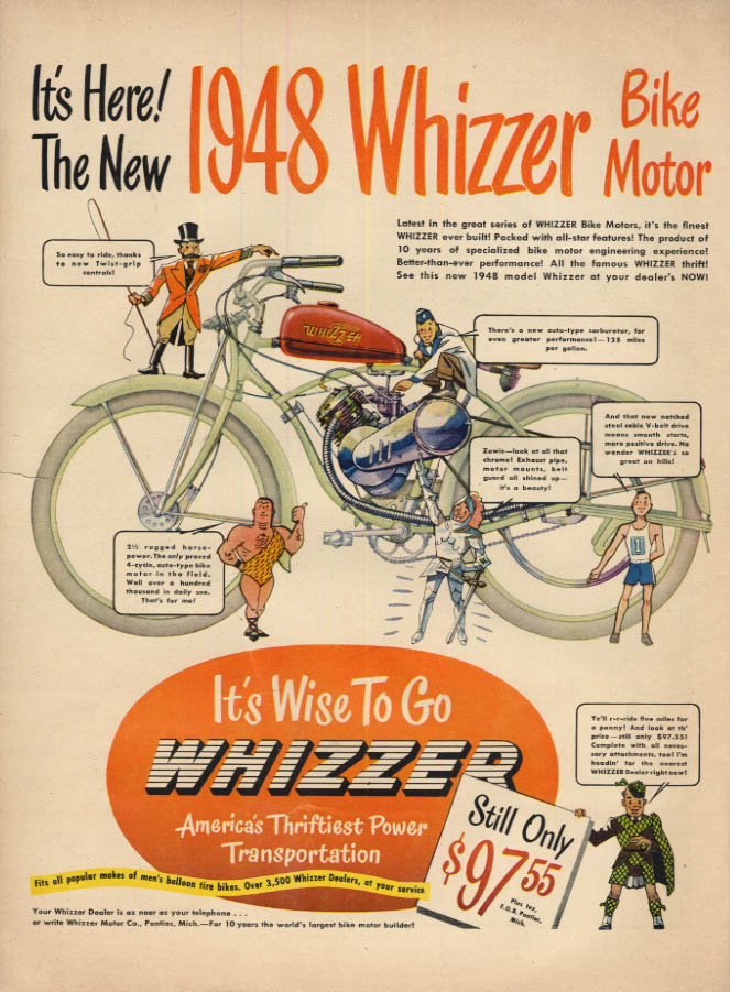 Image for It's Here! The New 1948 Whizzer Bike Bicycle Motor ad 1948 L