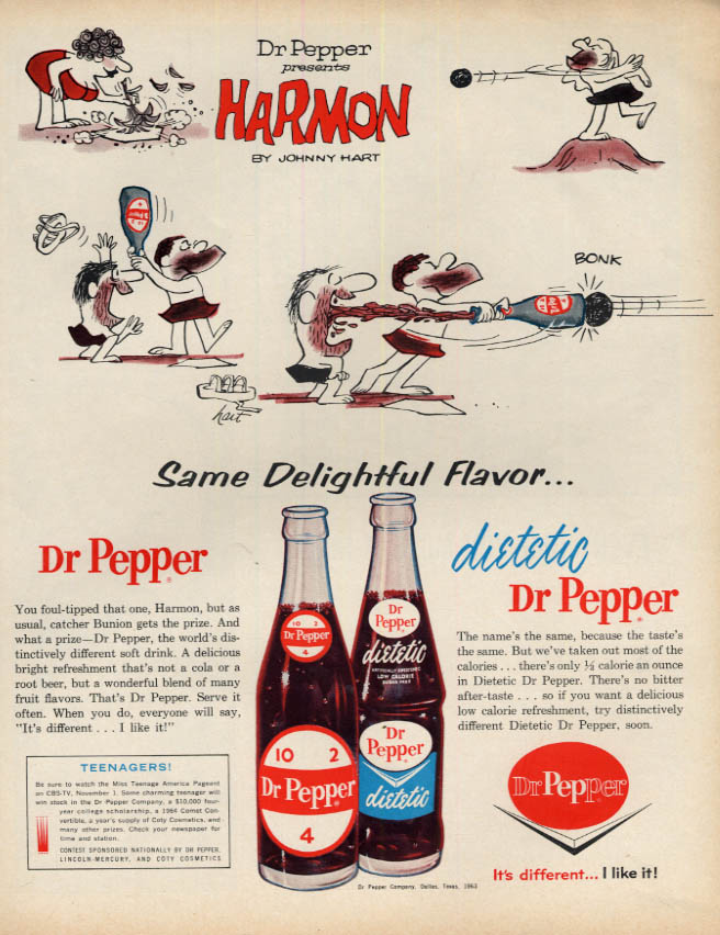 Image for Dietetic Dr Pepper ad 1963 Johnny Hart's Harmon plays baseball LK