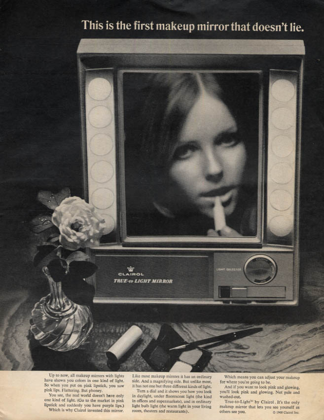 Image for First makeup mirror that doesn't lie Clairol ad 1969 Cheryl Tiegs LK
