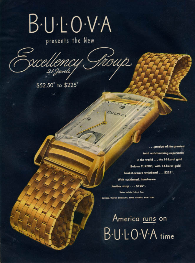 Image for Bulova presents the new Excellency Group of wristwatches ad 1946 L