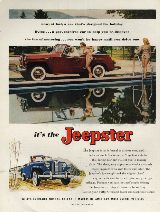 Image for A car designed for holiday living Willys-Overland Jeepster ad 1949 H