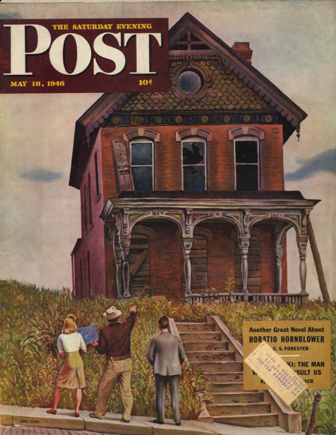 Image for SATURDAY EVENING POST COVER 5/18 1946 by Falter: Victorian home rehab?
