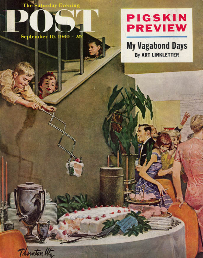 Image for SATURDAY EVENING POST COVER 9/10 1960 by Utz: kids snag party sweets