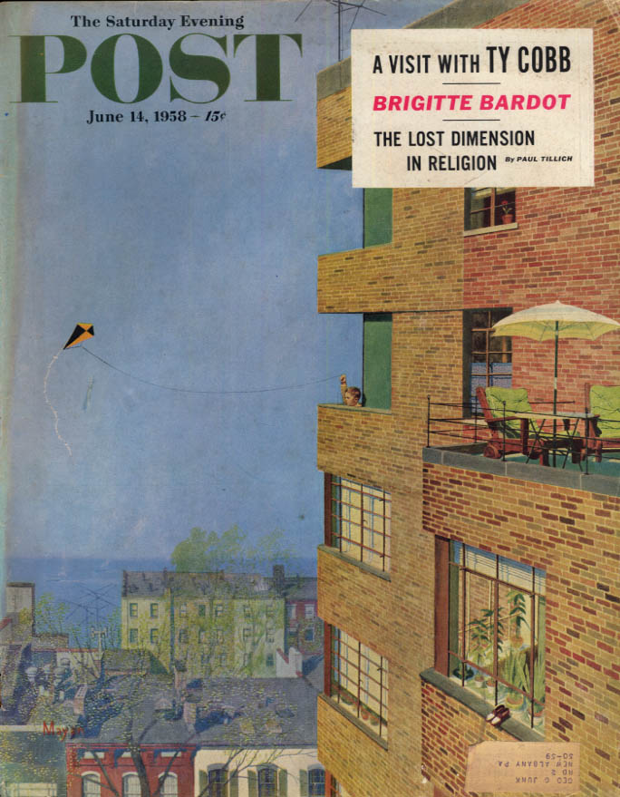 Image for SATURDAY EVENING POST COVER 6/14 1958 by Mayan: kids flies kite from high-rise