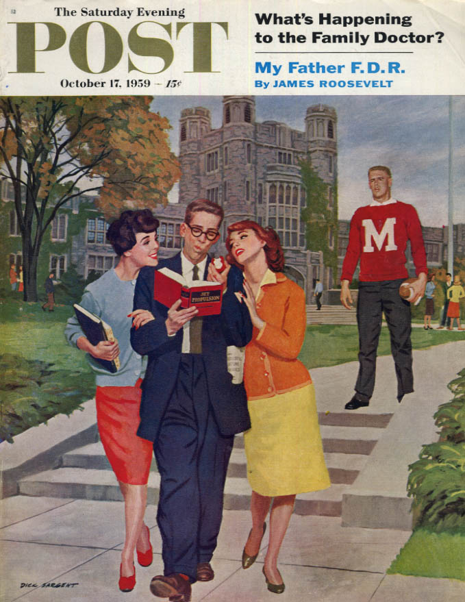 Image for SATURDAY EVENING POST COVER 10/17 1959 by Sargent: Nerd gets girls with science
