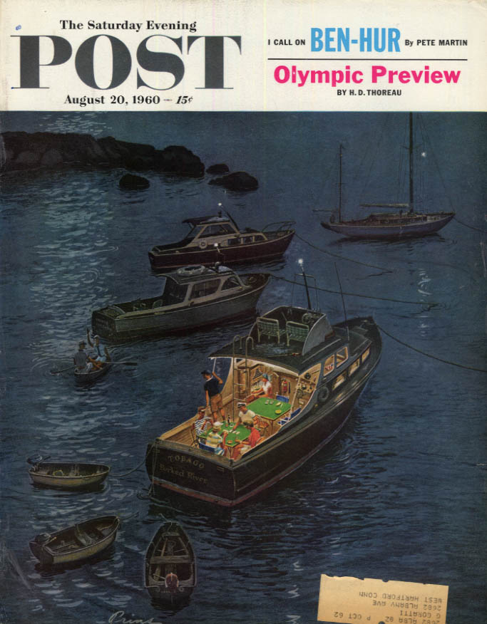 Image for SATURDAY EVENING POST COVER 8/20 1960 by Prins: bridge game on motor yacht