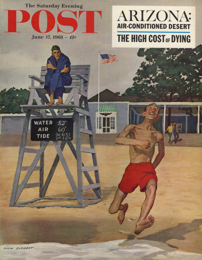 Image for SATURDAY EVENING POST COVER 6/17 1961 by Sargent: skinny man runs to cold water