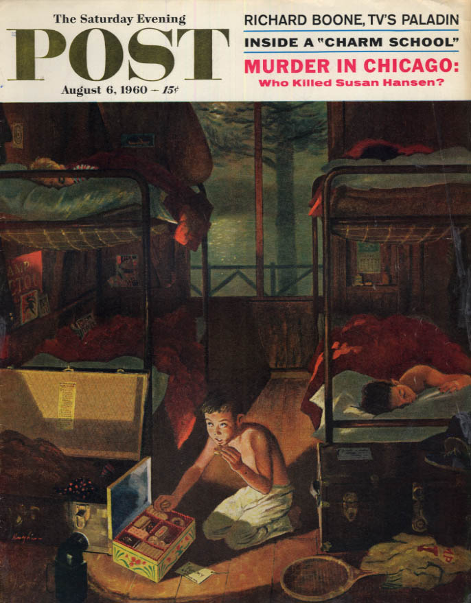 Image for SATURDAY EVENING POST COVER 8/6 1960 by Highes: kid steals snack in summer camp