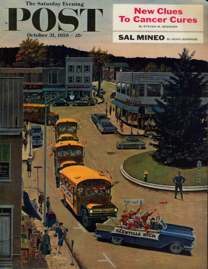 Image for SATURDAY EVENING POST COVER 10/23 1959 by Prins: high school football parade