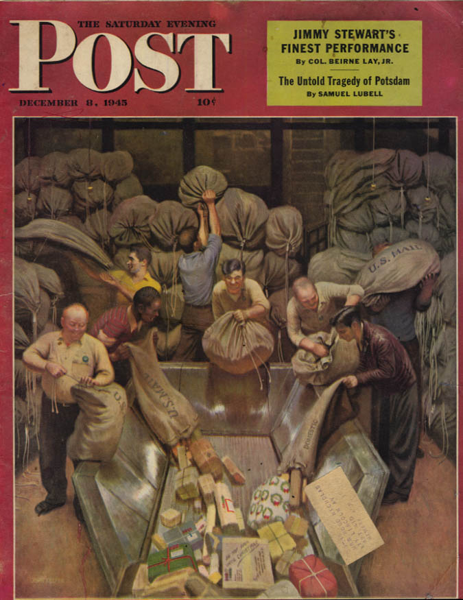 Image for SATURDAY EVENING POST COVER 12/8 1945 by Falter: Christmas mail processed by PO