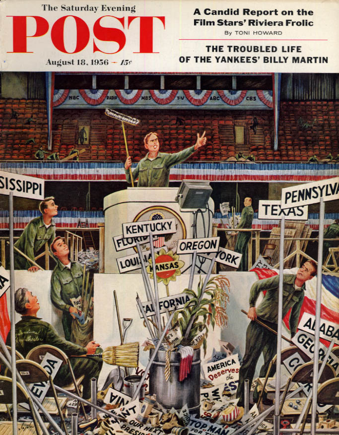 Image for SATURDAY EVENING POST COVER 8/16 1956 by Alajalov: post-convention clean-up crew