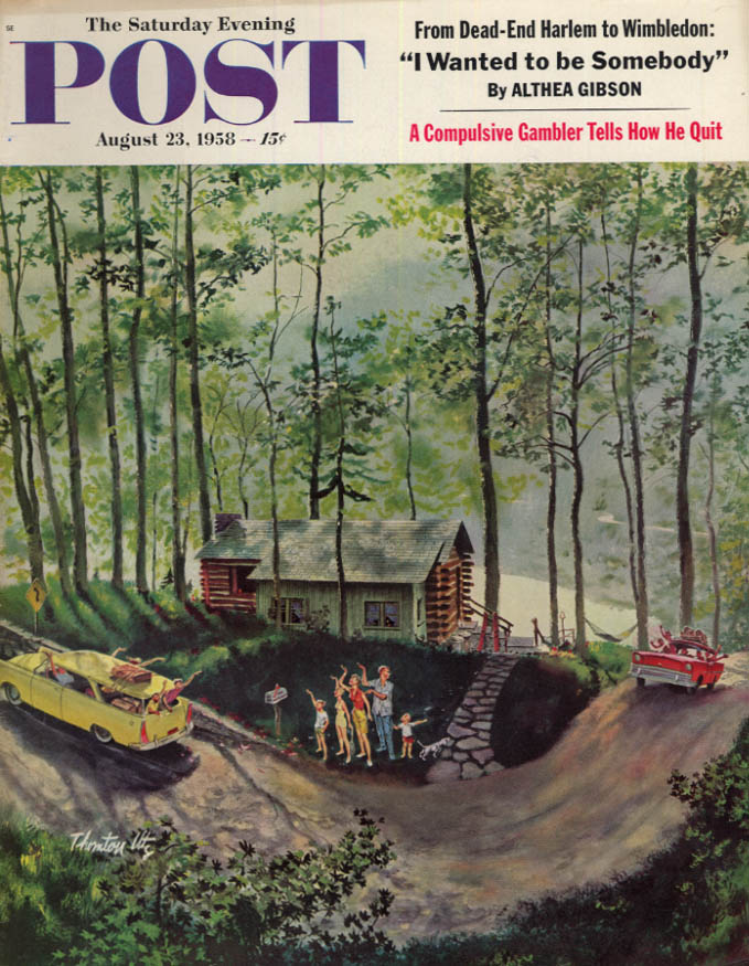 Image for SATURDAY EVENING POST COVER 8/23 1958 by Utz: summer cabin visitors out & in