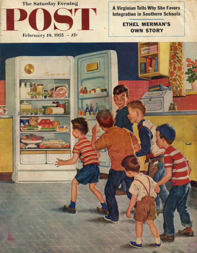 Image for SATURDAY EVENING POST COVER 2/19 1955 by Sewell: kids raid refrigerator