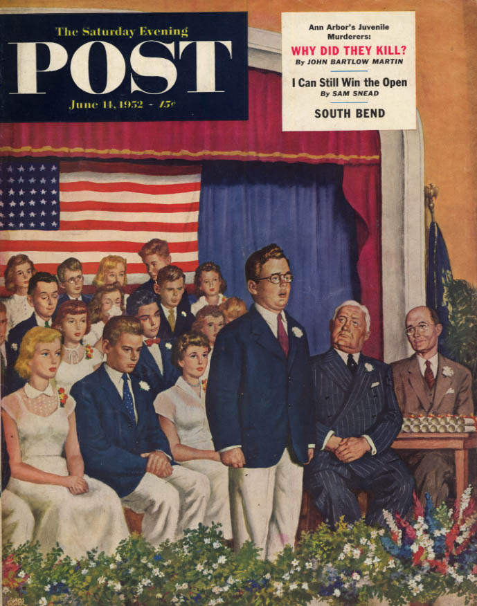 Image for SATURDAY EVENING POST COVER 6/14 1952 by Sewell: Homely boy graduation speech