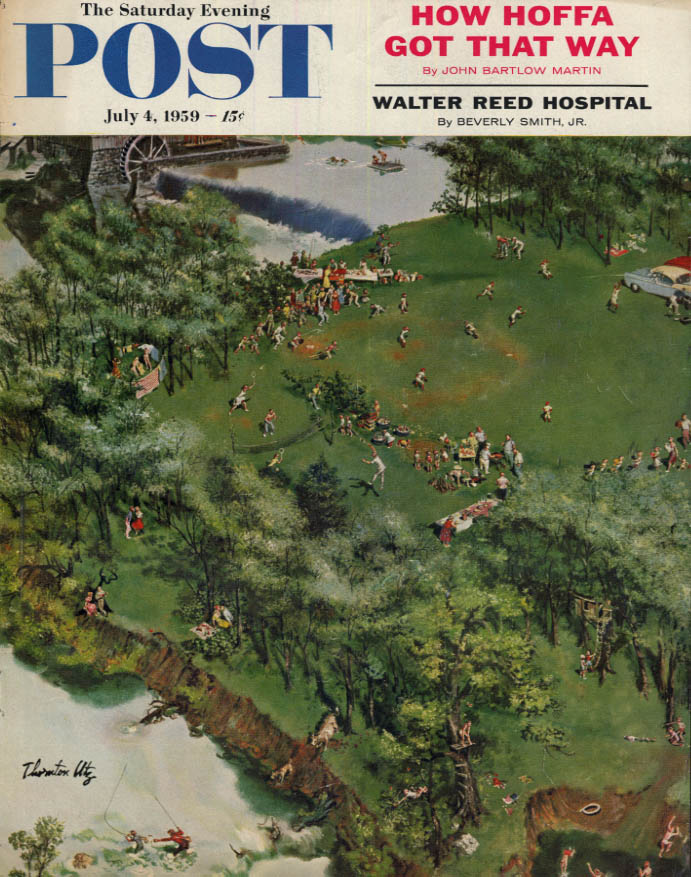 Image for SATURDAY EVENING POST COVER 7/4 1959 by Utz: aerial view of summer outing games