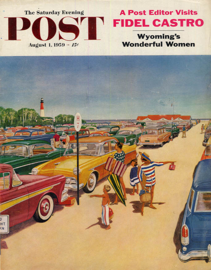 Image for SATURDAY EVENING POST COVER 8/1 1959 by Williamson: Where did we park the car?