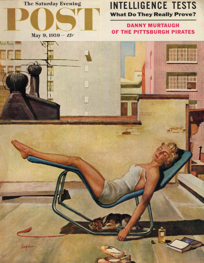 Image for SATURDAY EVENING POST COVER 5/9 1959 by Hughes: rooftop blonde bathing beauty