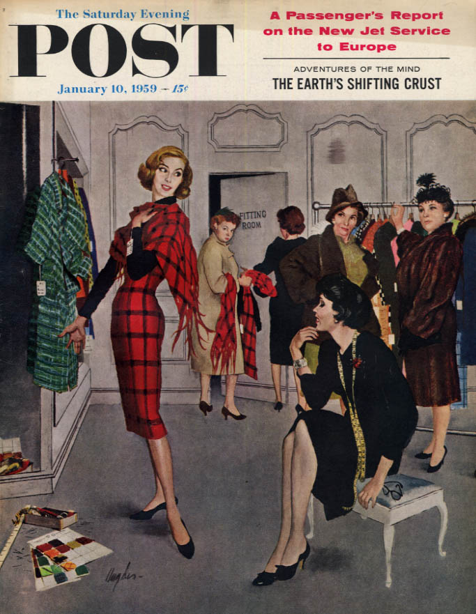 Image for SATURDAY EVENING POST COVER 1/10 1959 by Highes: stout gals sneer at slim blonde
