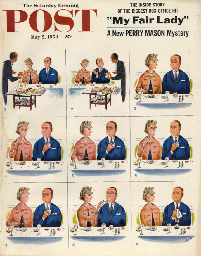 Image for SATURDAY EVENING POST COVER 5/2 1959 by Alajalov: Man says no dessert, but then?