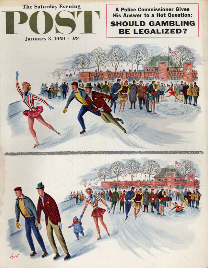 Image for SATURDAY EVENING POST COVER 1/3 1959 by Alajalov: pretty blonde iceskater is Mom