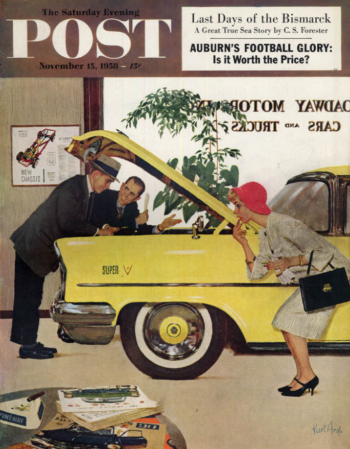 Image for SATURDAY EVENING POST COVER 11/17 1958 by Ard: Couple in new car showroom
