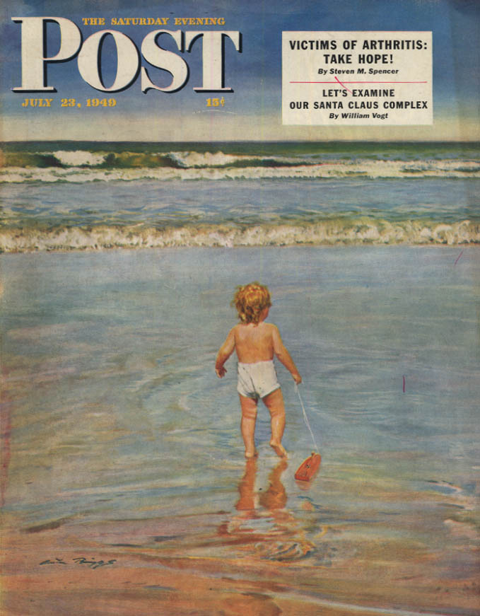 Image for SATURDAY EVENING POST COVER 7/23 1949 by Briggs: toddler gets 1st look at ocean