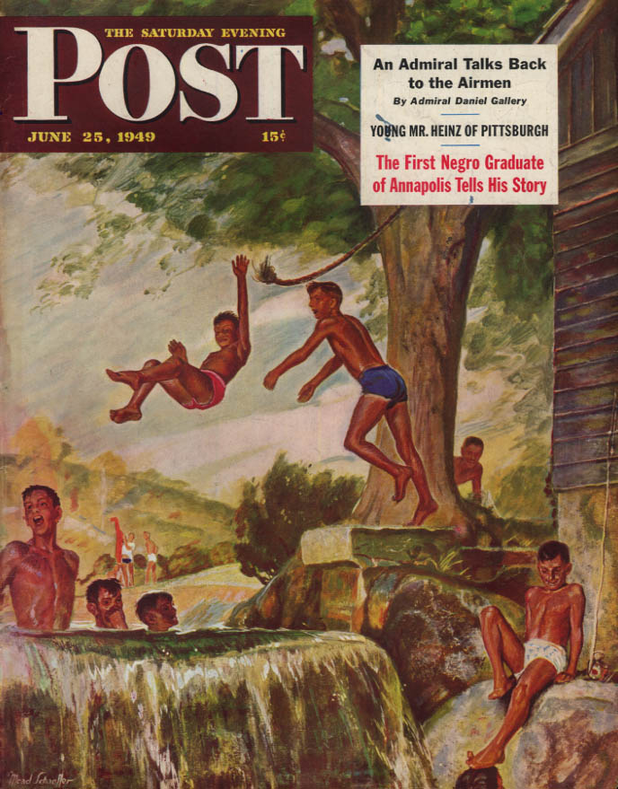 Image for SATURDAY EVENING POST COVER 6/25 1949 by Schaeffer: boys at the swimmin' hole